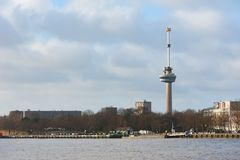 Euromast tower in Rotterdam - Netherlands. Rotterdam, Netherlands - Dec 18, 2017 : Euromast tower with the Meuse river in the foreground Royalty Free Stock Photo