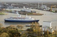 Two cruiseships in Rotterdam stock photo
