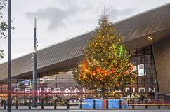 Christmas tree at Rotterdam central station royalty free stock photography