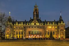 Town hall christmas tree ceremony. Rotterdam, The Netherlands, December 9, 2016: people gathered in front of the city hall on Coolsingel for the first lighting stock image