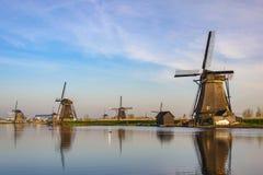 Dutch Windmill at Kinderdijk Village stock photography