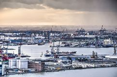 Changing weather above the harbour Royalty Free Stock Image