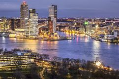 The Park, the river and the southbank. Rotterdam, the Netherlands, February 2, 2018: View of The Park, the river Nieuwe Maas and the highrise on the southbank Stock Photography