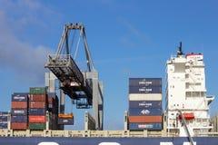 Container ship gantry cranes port of rotterdam stock photo