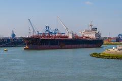 Tanker berth at buoys in the Rotterdam port stock image