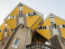 ROTTERDAM, NETHERLANDS - MAY 31, 2018: Cube houses Kubuswoningen - city most iconic attractions. Architect tilted a traditional,. ROTTERDAM, NETHERLANDS - MAY 31 stock image