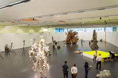 Rotterdam, Netherlands - May 9, 2015: Dutch People visit Kunsthal museum in Rotterdam. Royalty Free Stock Photos