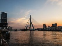 ROTTERDAM, NETHERLANDS - MAY 31, 2018: Erasmus bridge on the Maas river with the De Rotterdam towers in the background Royalty Free Stock Image