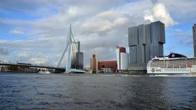 Rotterdam, The Netherlands - May 9, 2015: Erasmus Bridge with Rotterdam skyline. stock video