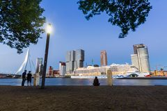 Exterior view of the Erasmus Bridge at sunset and the Maas Stock Photography