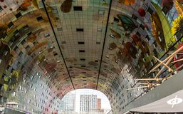 The inside of the The Markthal Market Hall stock image