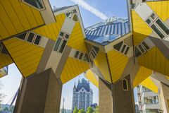 Modern Buildings City Architecture Design Elements Known as Cubic Houses Designed by Piet Blom. Rotterdam, The Netherlands -May 11, 2017: Modern Buildings City Royalty Free Stock Photo