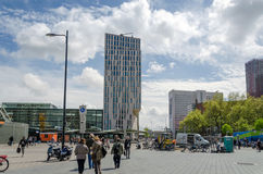 Rotterdam, Netherlands - May 9, 2015: People around Blaak Station in Rotterdam Royalty Free Stock Photography