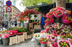 Rotterdam, Netherlands - May 9, 2015: People at Flower shop in Rotterdam Stock Image