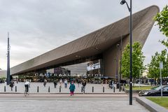 People at the main entrance to Rotterdam Centraal station= stock photo