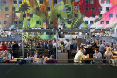 Rotterdam, Netherlands - May 9, 2015: People shopping at Markthal (Market hall) a new icon in Rotterdam. Royalty Free Stock Photos