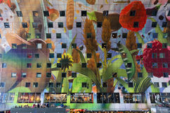 Rotterdam, Netherlands - May 9, 2015: People shopping at Markthal in Rotterdam Stock Photography