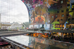 Rotterdam, Netherlands - May 9, 2015: People shopping in Markthal in Rotterdam Royalty Free Stock Photo