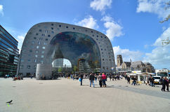 Rotterdam, Netherlands - May 9, 2015: People visit Markthal in Rotterdam. Stock Image