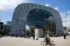 Rotterdam, Netherlands - May 9, 2015: People visit Markthal in Rotterdam. Royalty Free Stock Photos