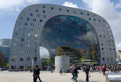Rotterdam, Netherlands - May 9, 2015: People visit Markthal in Rotterdam Stock Photography