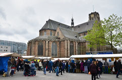 Rotterdam, Netherlands - May 9, 2015: People visit Street Market Royalty Free Stock Image