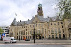 Rotterdam, Netherlands - May 9, 2015: People visit Town hall of Rotterdam Royalty Free Stock Images