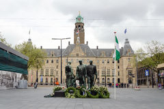 Rotterdam, Netherlands - May 9, 2015: People visit Town hall of Rotterdam Stock Images