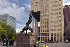 Rotterdam. NETHERLANDS - MAY 16, 2017: The statue symbolizes the destruction of  by German bombs in WWII Royalty Free Stock Photos