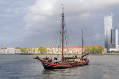 Rotterdam, Netherlands - May 9, 2015: Tourist boat on Nieuwe Maas (New Meuse) river in Rotterdam Stock Image