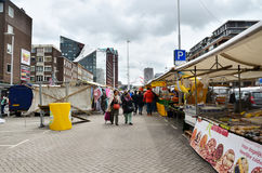 Rotterdam, Netherlands - May 9, 2015: Unidentified shoppers at the Street Market in Rotterdam. Royalty Free Stock Photography