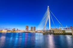 Rotterdam, Netherlands. Modern night city skyline Royalty Free Stock Photos