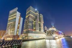 Rotterdam, Netherlands. Modern night city skyline Stock Photography