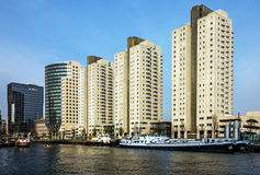 Rotterdam in Netherlands. Modern town buildings in harbor Stock Photo