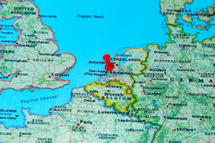 Rotterdam, Netherlands  pinned on a map of Europe Stock Photography
