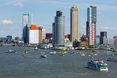 Rotterdam, the Netherlands from the riverside. Busy on the river at yearly World Port Days in Rotterdam, the Netherlands Stock Photo