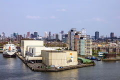 Rotterdam, Netherlands, seafront modern port buildings. Royalty Free Stock Photos