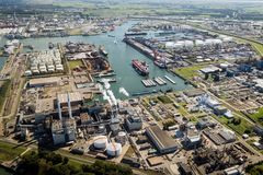 Aerial Port of Rotterdam overview. ROTTERDAM, THE NETHERLANDS - SEP 3, 2017: Aerial view of a sea container terminal in the Port of Rotterdam Stock Photography