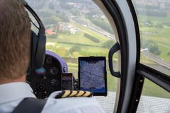 Helicopter pilot navigation chart tablet stock photo