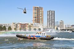 ROTTERDAM, NETHERLANDS - SEPTEMBER 09: Army helicopter is flying Stock Image