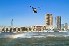 ROTTERDAM, NETHERLANDS - SEPTEMBER 09: Army helicopter is pickin Royalty Free Stock Photo
