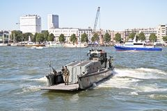ROTTERDAM, NETHERLANDS - SEPTEMBER 09: Officer from a marine shi Stock Photography