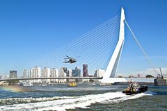 ROTTERDAM, NETHERLANDS - SEPTEMBER 09: Army helicopter is flying Royalty Free Stock Image