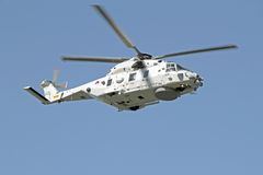 ROTTERDAM, NETHERLANDS - SEPTEMBER 09: Army helicopter is flying Royalty Free Stock Images