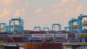 Stacking Cargo Containers. ROTTERDAM, THE NETHERLANDS - SEPTEMBER 15, 2017: Cranes unloading containers and organizing them at APM Terminals on Maasvlakte 2 stock video footage