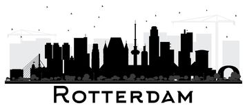 Rotterdam Netherlands skyline black and white silhouette. Vector illustration. Business travel concept. Rotterdam Cityscape with landmarks Royalty Free Stock Image