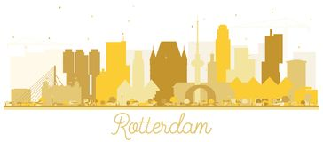 Rotterdam Netherlands skyline Golden silhouette. Vector illustration. Business travel concept. Rotterdam Cityscape with landmarks Stock Photography