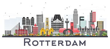 Rotterdam Netherlands Skyline with Gray Buildings Isolated on Wh. Ite Background. Vector Illustration. Business Travel and Tourism Concept with Modern Stock Photos