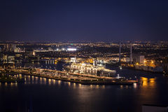 Rotterdam night_boat zdjęcie royalty free