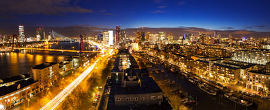 Rotterdam night skyline Stock Photo